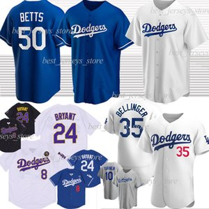 Dodgers 50 Mookie Betts Los Angeles Baseball Jersey 35 Cody Bellinger 22 Clayton Kershaw 10 Justin Turner 8 24 Bryant Black Mamba 2020
