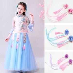 foW41 Han giyim saç tokası çocukların kostüm antik Süper peri antik kostüm kurdele Kurdele Çin tarzı Han giyim aksesuarları püskül