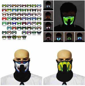 EEUU Stock 69 Estilos máscara de la música flash LED con sonido activo para Dancing Máscara de control por voz Riding fiesta del patinaje de fiesta de Halloween Máscaras FY0063