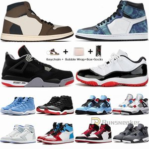 Nike Air Jordan 1 High Travis Scotts 1s Low Nero Toe scarpe da basket Tie Dye UNC Chicago 4s Cactus Jack Mens Trainers 11s 11 White Bred Concord Sneakers
