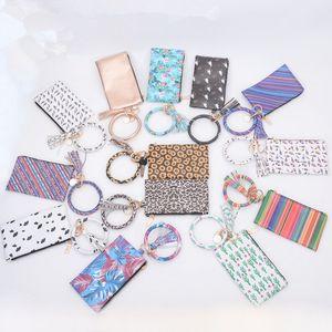 Fashion PU Bracelet Keyring Wallet Tassels Keychain Pendant Leather Clutch Bag Popular Printing Key Buckle Purse