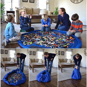 1.5m Kids Play Mat Toys Storage Bags organizer Foldable Round Playing Mat Blanket Rugs Portable Toy Boxes Waterproof Beach Travel Pouch Bag