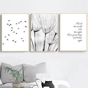 검은 색과 흰색 민들레 새 캔버스 지수 포스터를 그림과 인쇄 추상 여행 북유럽 포스터 벽 예술 홈 인테리어 인쇄