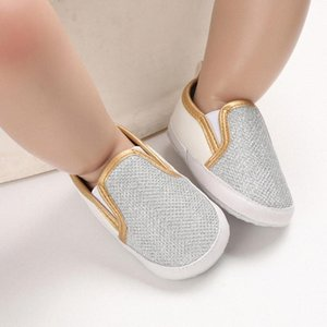 Bebek Ayakkabı Tok rengi Birinci Yürüyenler Ayakkabı Bebek Çocuk Kız bebekler Paillette Deri Spor ayakkabılar Casual Kaymayan Yumuşak Ayakkabı HTVI #