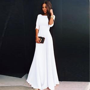 Summer Women Chiffon Dress Elegant Three Quarter Sleeve Long Dresses White Black Evening Party Dresses Robe Femme Vestidos