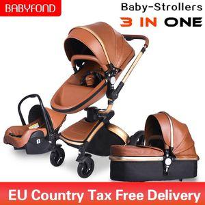 Babyfond 3 em um carrinho de criança de luxo de duas vias dobrável de quatro rodas para bebés recém-nascido Pram quadro de liga de alumínio de dobramento de couro carro bebé