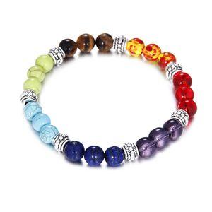 Sete colorido Chakra Reiki Balance Bracelet Energia Quartz Pulseiras Cura Beads Mulheres Moda Jóias Encantos Pulseiras frisada ps0696