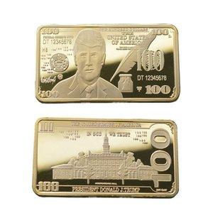Trump Ouro e Prata Medalha de 24k Gilded Embossed Moeda Comemorativa Trump Emblema quadrado frete grátis DHC682