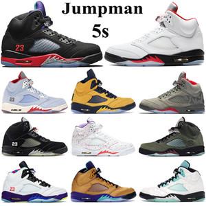 Hommes de qualité supérieure 5 s Chaussures de basket-Maillot Femme Jumpman Sneakers raisin rouge feu alternatif argent Tongue 2020 des entraîneurs sportifs métalliques noirs