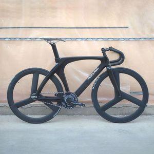 탄소 섬유 포크 색 Melovelo 트랙 자전거 프레임 51cm 단일 속도 자전거 프레임 탄소 트랙 자전거 700C를 compelted