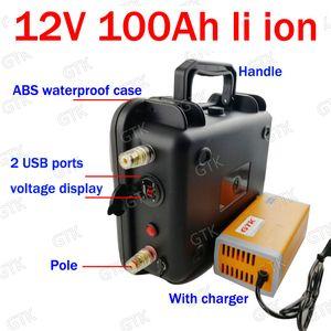 impermeabile 12v 100ah batteria al litio Li Ion scarico 100A USB Solar Energy Storage golf cart sinusoidale pura + 10A caricabatterie