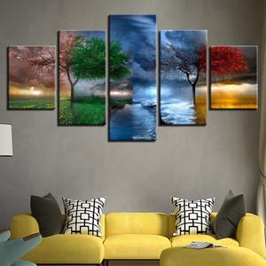 Печать холст Фото Wall Art Framework 5 шт 4 сезон Деревья Абстрактные картины для гостиной Пейзаж Плакат Home Decor