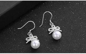Mixed oder top quality women's S925 sterling silver pearl drop earrings silver hook earring silver ear bobs pearl CZ earrings DDS0323