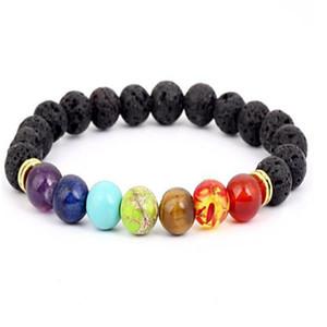 Black Lava Volcanic stone 7 Chakra Bracelet,Natural Stone Yoga Bracelet,Healing Reiki Prayer Balance Buddha Beads Bracelet . a0563