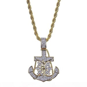 F New 18k Gold Plated Iced Out Cublic Zirconia Vintage Anchor Pendant Necklace Twist Chain 2 Colors Hip Hop Punkrock Jewelry Gifts For