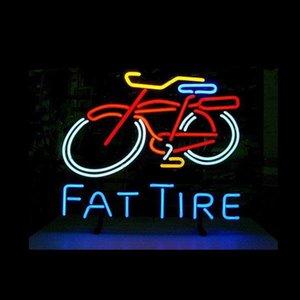 """FAT LASTİKLER Bisiklet Bisiklet Neon Özel El Yapımı Gerçek Cam Tüp Mağaza Mağaza Şirket Bira Reklam Dekorasyon Görüntü neon İşaretler 17 """"X14"""" Sign"""