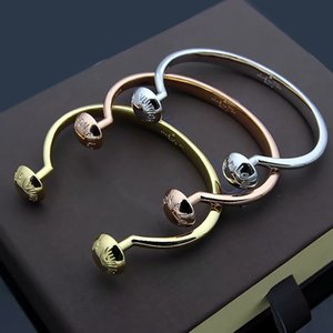 Fashion Hot Sale Lady Titanium Steel Two Round Nail V Letter 18k Gold Plated Open Bracelet Bangle 3 Color