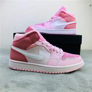 NakeskinJordansneakers 1 Mid WMNS Digital Pink Women Sneakers Basketball Shoes Designer Girls Baskets 1s des chaussures zapatos