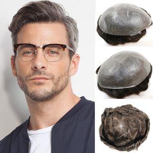 Toupee for Men Human Hair Capelli Parrucchino 0.03mm Ultra sottili Skin V-Loop Medio Density Wig Sistemi di sostituzione