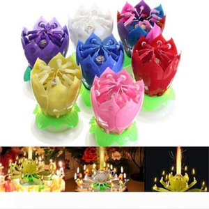 New Art Musical Candle Lotus Flower Happy Birthday Party Gift Rotating Lights Decoration 8 14 Candles Lamp