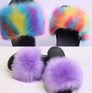 2020 Новые свадебные туфли плюшевые тапочки женщин Дизайнерская обувь Поддельный Fox Fur Трусы Плюс Размер обуви Бесплатная доставка