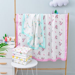 TZFCx ins bamboo Quilt cover bath fiber pure cotton newborn baby children's bag towel bath towel baby's quilt cover blanket printing four la