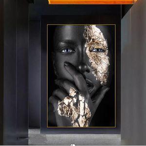 Ragazza nera con Silver Occhi tela dipinti sul muro Donna Africana Wall Art Immagini per Living Room Decor (nessuna pagina)