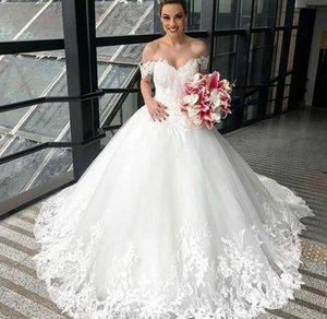 Custom Made Off Shoulder Lace Wedding Dresses with Appliques Court Train Short Sleeves Tulle Wedding Bridal Gowns vestidos de novia