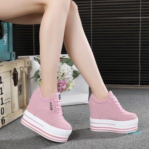 Hot Sale-2019 Spring Women Ankle Boots High Wedge Casual Shoes Female 12CM Increased Height Shoes Woman Fashion Platform Sneakers