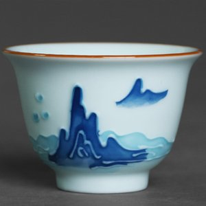 Relief wide mouth tea cup hand-painted tea ceremony shadow blue glaze teacup Jingdezhen craft view mountain pastel master cup