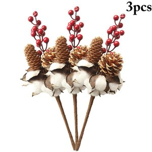 3pcs Naturally Dried Cotton Stems Farmhouse Artificial Flower Filler Floral Decor Artificial Flowers Valentines Day Gift