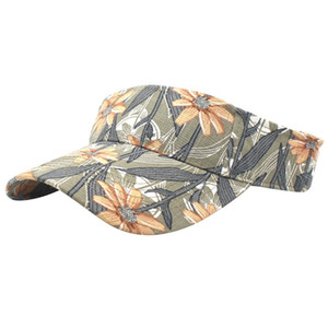Adults Cotton Cap Golf Sun Visors Floral Printed Running Hat Summer Outdoor Sport Top Air Caps For Men Women Plain Striped