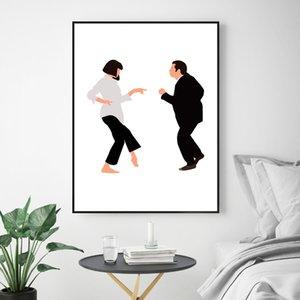 Clásico del cartel de película Pulp Fiction Póster del Minimalist lienzo pintura del arte de fotografías para la decoración de la sala de estar (No Frame)
