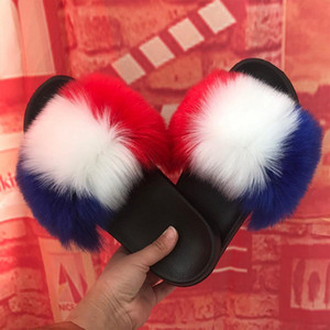 Women Slippers Flat Shoes Plush Casual Fur Slippers Non-slip Solid Real hair Slides Large Size Free Shipping