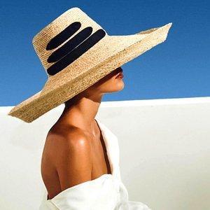 2020 New Fashion Black Bandage Ribbon Ladies Raffia Hat Roll Up Kentucky Derby Sun Hat Large Wide Brim Summer Beach Straw Hat Y200619