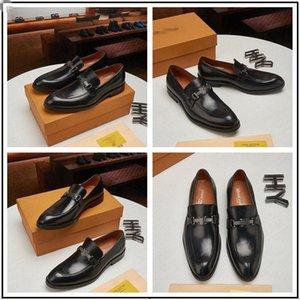 2020 New Dress Shoes For Gentle brands Men Bright skin Genuine Business dress Leather Shoes Pointed Toe Mens designer Business Oxfords Casua