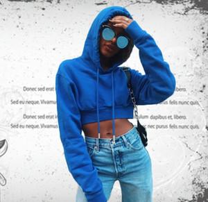 Mavi Kapüşonlular Mahsul Şapka Moda Sweatshirt ile Ropa Mujer Punk Uzun Kollu Kırpılmış Kadınlar Hoodies Tops