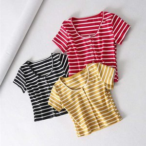Summer Crop Top Sexy Women Casual Buttons Elastic Short Sleeve Cotton T-shirts Black Red Striped Tops
