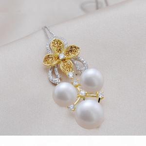 MeiBaPJ Luxurious 3 Beads Real Freshwater Pearl Flower Pendant Necklace 925 Sterling Silver Fine Wedding Jewelry for Women