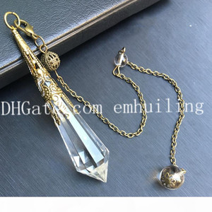 1Pcs Natural Rock Quartz Clear Crystal Pendant Pendulum Pointed Stone Healing 12 Facet Reiki Charged with Antique Bronze Copper Beads Chain