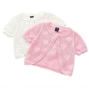 txbsI Girl's one-button knitted cardigan short-sleeved Scarf baby's shawl air-conditioned thin Girl's one-button knitted cardigan short-slee