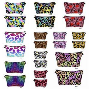 3D Leopard Printed Cosmetic Bag Travel Portable Digital Printing Makeup Handbag Purse Storage Bags Organizer Travel Pouch Wash Bags RRA3393