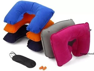 New 3 in1 Travel Office Set Inflatable U Shaped Neck Pillow Air Cushion Sleeping Eye Mask Eyeshade Earplugs free ship