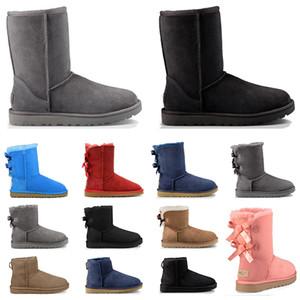 Designer austrália mulheres clássico botas de neve tornozelo curto bow fur boot para inverno castanha mulheres sapatos de inverno tamanho 36-41 frete grátis