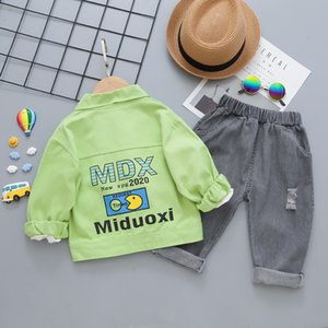 Boys Clothing Sets 3pcs Letters Denim Jacket+Long Sleeve Shirt+Jean Pants Kids Baby Set 2020 New Spring Autumn Children Suits