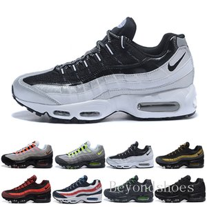 2018 Men Air Running Shoes What The 95 OG Grape Neon TT Black Red Mens Trainers Triple White Sports Sneakers Size 7-11 HU-9C