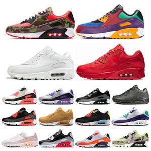 Nike air max 90 Mais barato Homens e mulheres Sapatos de Corrida Preto Vermelho Branco Sports Trainer Air Cushion Superfície Respirável Esportes Mens Sneakers sapatos 36-46
