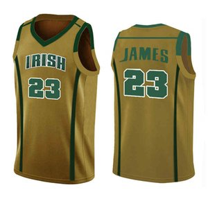 branco LeBron James 23 13 Harden Irish alta University School Allen Iverson 3 NCAA College Basketball Jerseys Georgetown Bethel High Escola
