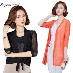 Women Summer Mesh Kimono Cardigan Sun Blouse Beach Shirts Cover Up s Outwear Plus Size 4XL 3 4 Sleeve Tops Sunproof Coat Camisa Y200622