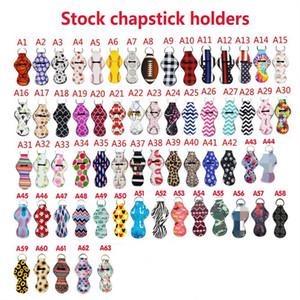Key chain case Neoprene Chapstick Holder Colorful pattern Neoprene Keychain balm cases bag pendant Party Favor T2I51256